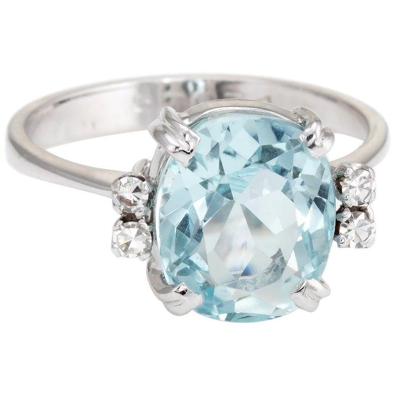 d152a2afae4fe H Stern Vintage 5 Carat Aquamarine Diamond Ring 18 K Gold Estate Fine  Jewelry