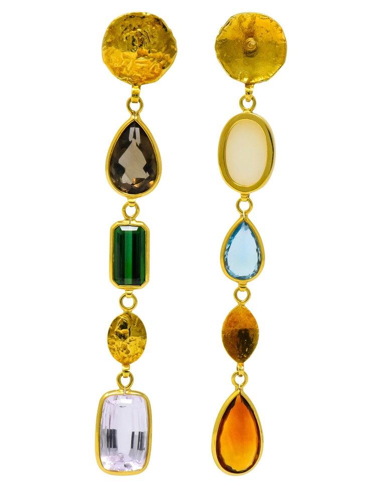 H. Stern Vintage Multi-Gem 18 Karat Gold Asymmetrical Drop Earrings In Excellent Condition For Sale In Philadelphia, PA