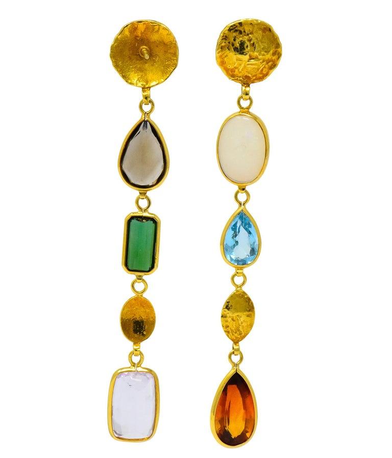 Women's or Men's H. Stern Vintage Multi-Gem 18 Karat Gold Asymmetrical Drop Earrings For Sale