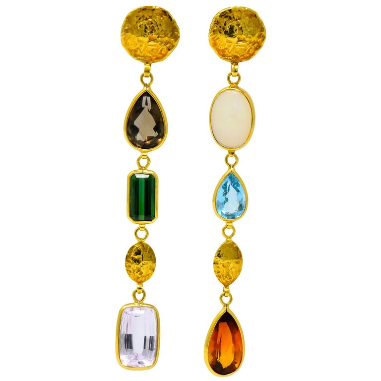 H. Stern Vintage Multi-Gem 18 Karat Gold Asymmetrical Drop Earrings For Sale
