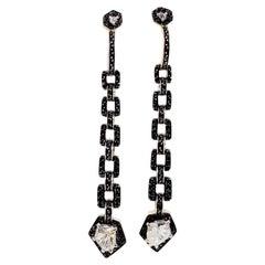H. Stern White Diamond and Black Diamond Dangle Earrings in 18kyg with GIA