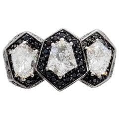 H. Stern White Diamond and Black Diamond Ring in 18 Karat Yellow Gold with GIA