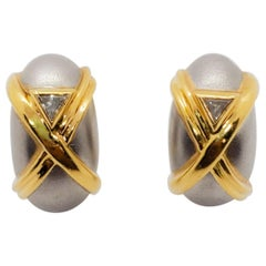 H. Stern White Diamond Trillion and 18 Karat Two-Tone Gold Earrings