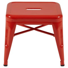H Stool 30 in Glossy Red-Orange by Chantal Andriot and Tolix