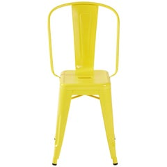 H Stool 50 in with High Back in Yellow by Tolix