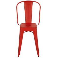 H Stool 55 with High Back in Red-Orange by Tolix