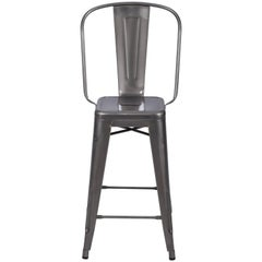 H Stool 65 with High Back in Steel with Glossy Lacquer by Tolix
