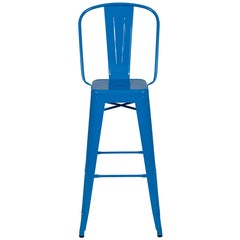 H Stool 80 with High Back in Sky Blue by Tolix
