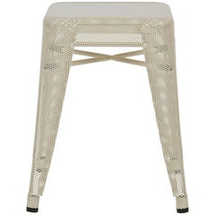 H Stool Perforated 45 in Ivory by Chantal Andriot and Tolix