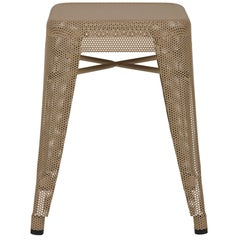 H Stool Perforated 45 in Nutmeg by Chantal Andriot and Tolix