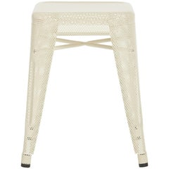 H Stool Perforated 45 in Textured Matte Ivory by Chantal Andriot and Tolix