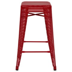 H Stool Perforated 65 in True Red by Chantal Andriot and Tolix
