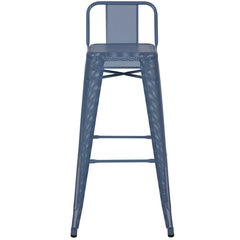H Stool Perforated 75 with Low Back in Provence Blue by Chantal Andriot & Tolix