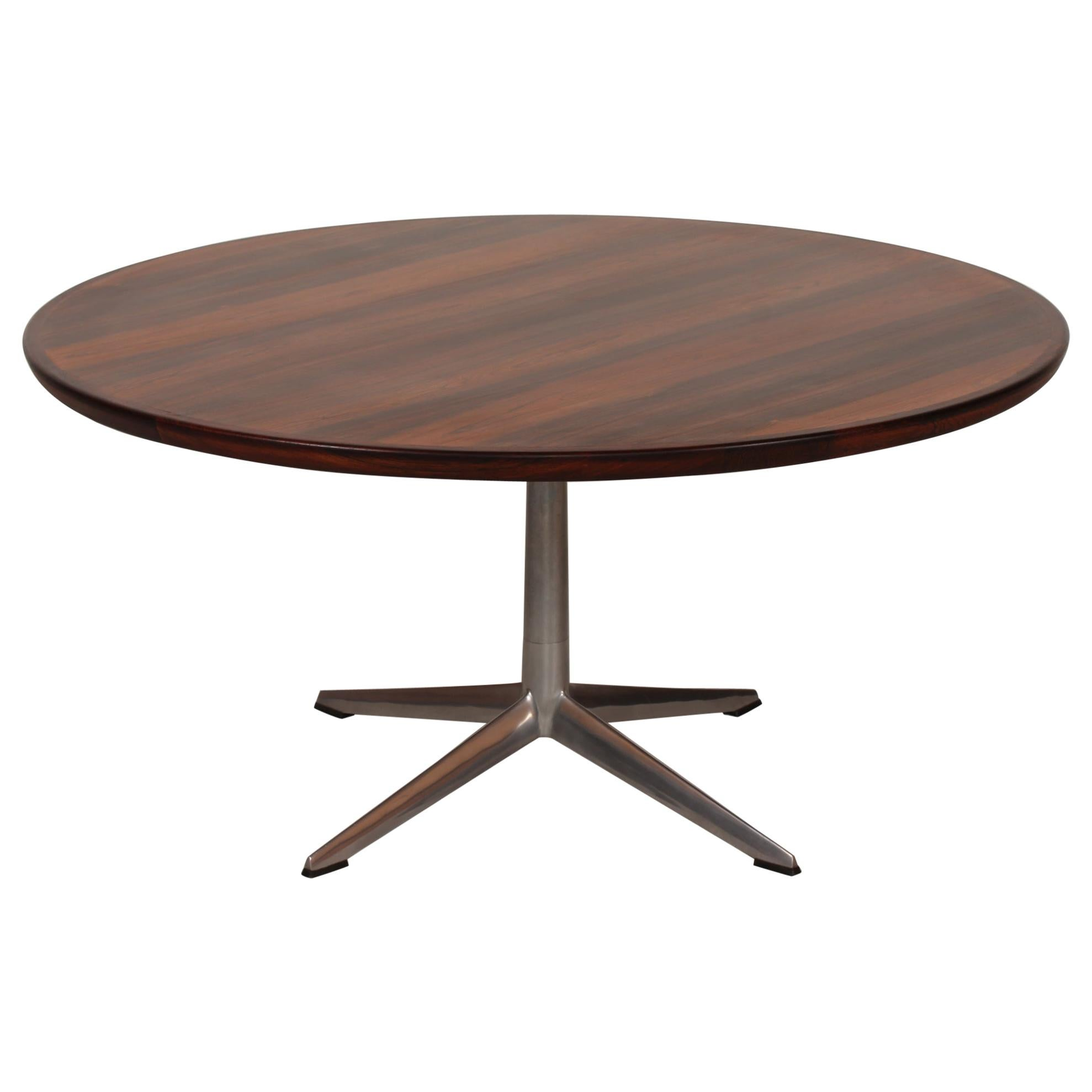 H. W. Klein Round Rosewood Coffee Table by Bramin Møbler in Denmark in the 1960s