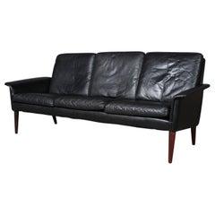 H. W. Klein Sofa in Original Black Leather