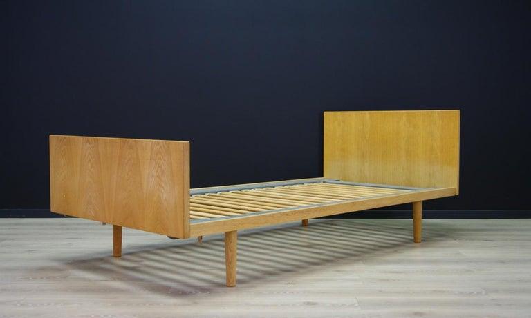 Scandinavian Modern H. Wegner Brown Bed 1960s Ash Vintage Danish Design For Sale