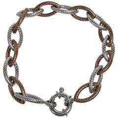 H. Weiss Sterling Silver Rose Link Bracelet