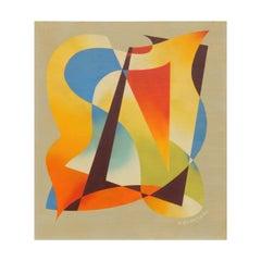 H. Wilson Smith California Artist Abstract Painting, circa 1940s-1950s