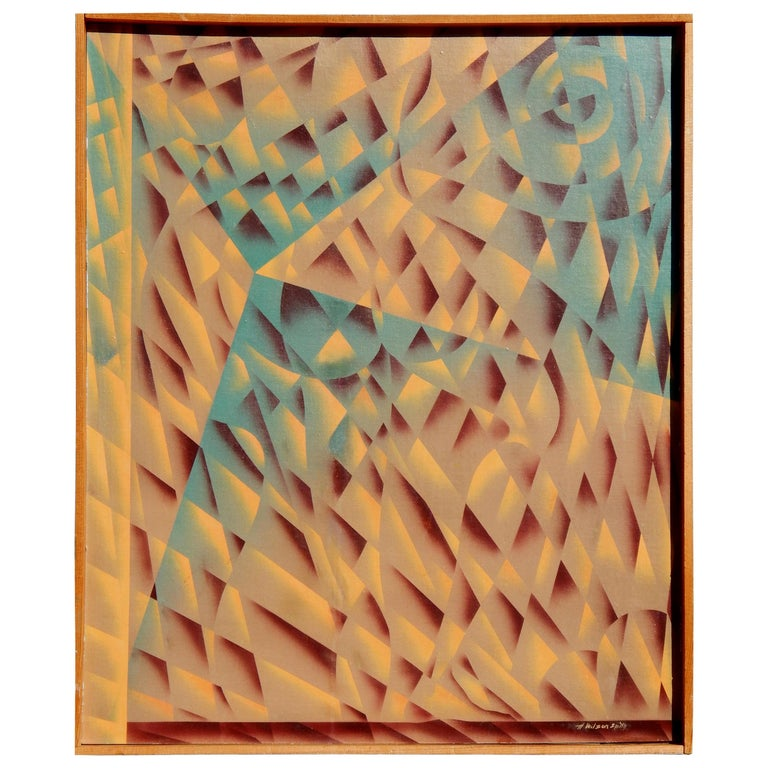 H. Wilson Smith California Artist Geometric Abstract Painting, circa 1940s-1950s For Sale