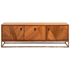 Haast Modern Ancient River Wood Credenza Aged Copper Base and Leather Handles