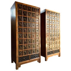 Haberdashery Apothecary Chests Medicine Cabinets Elm Qing Dynasty, 1871