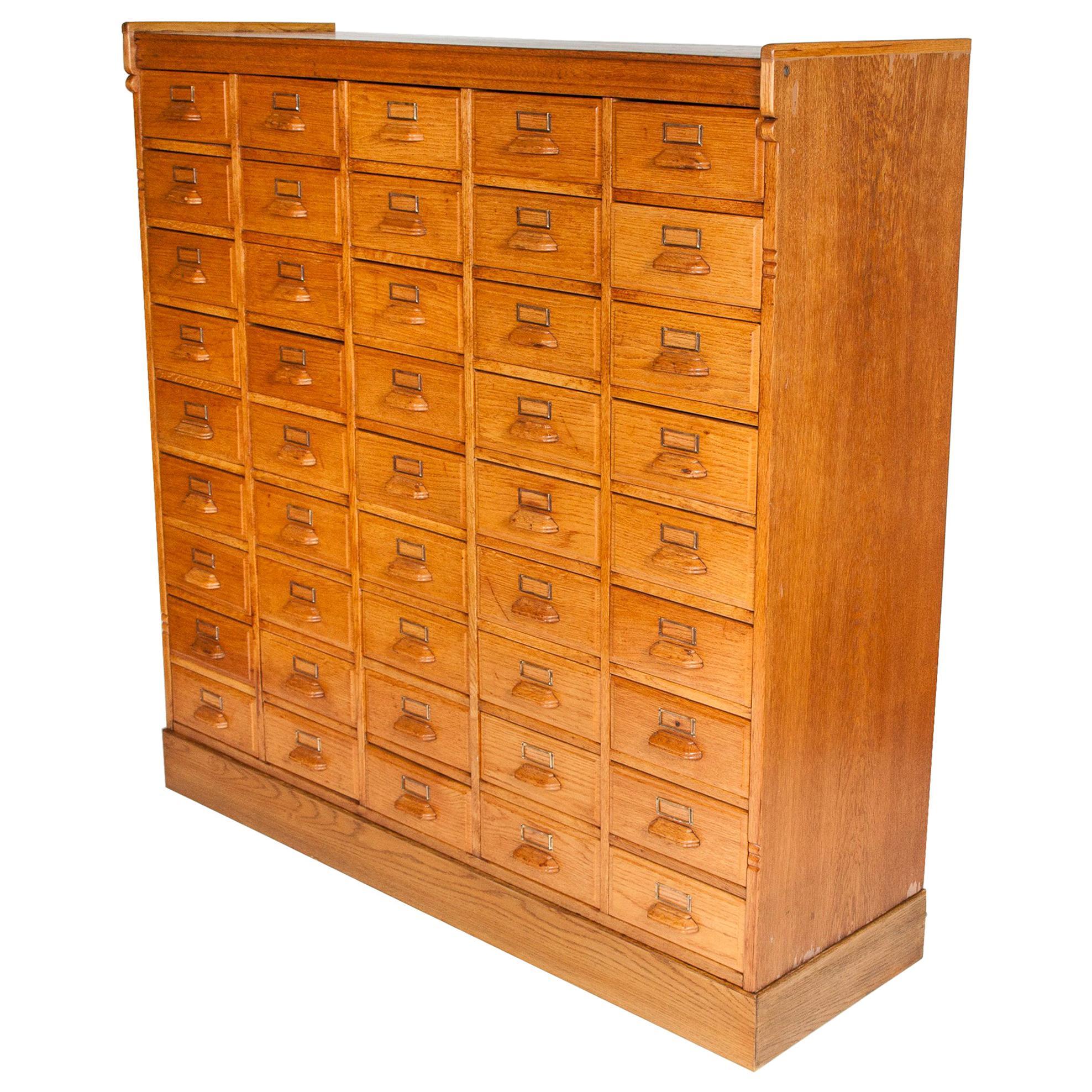 Haberdashery Cabinet, Oak with Brass Label Holders