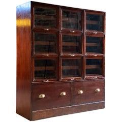 Haberdashery Drapers Shop Display Cabinet Mahogany Loft Style, circa 1940