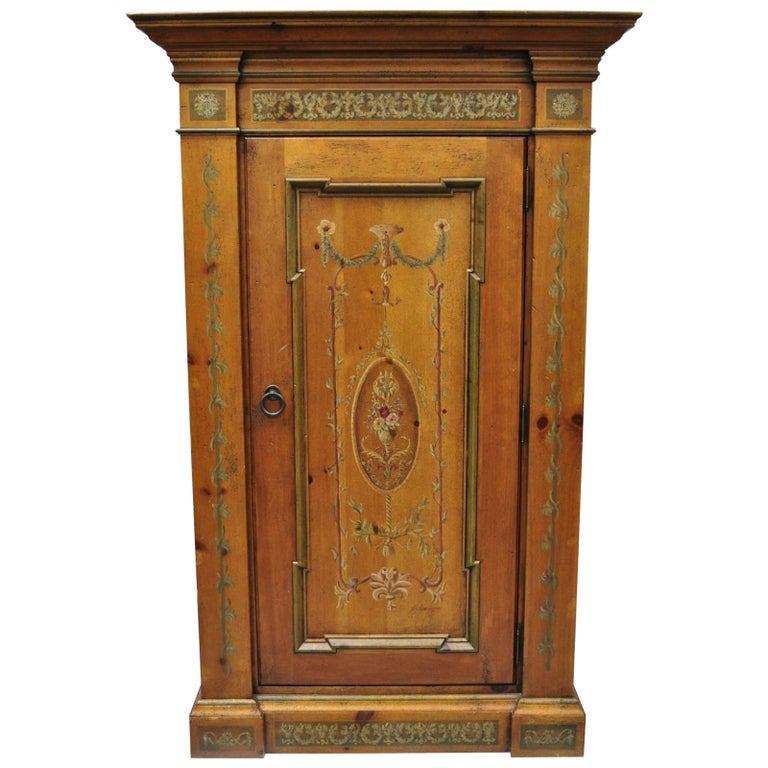 Habersham French Adams Style Paint Decorated Storage Cabinet Cupboard Bookcase
