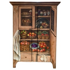 Habersham Hand Painted Trompe l'Oeil Fruits and Vegetables Oak Cabinet Cupboard