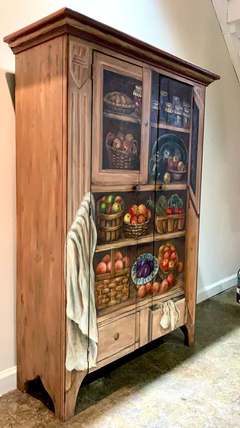 Habersham hand painted Trompe l'Oeil fruits and vegetables oak cabinet cupboard. One-of-a-kind, signed and dated by the master artisan. MSRP for custom pieces such as this from Habersham hover around the 10-12,000 USD region.   Habersham was founded