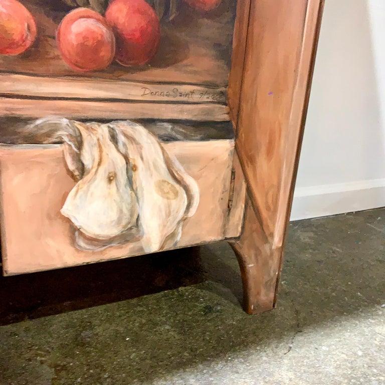 Post-Modern Habersham Hand-Painted Trompe l'Oeil Fruit Vegetable Cabinet Cupboard CLEARANCE