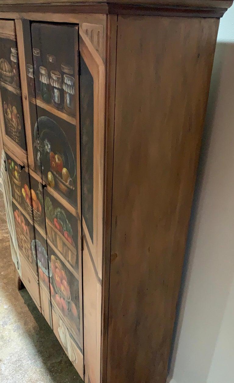 American Habersham Hand-Painted Trompe l'Oeil Fruit Vegetable Cabinet Cupboard CLEARANCE