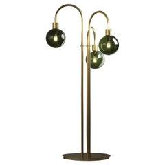 Habiba Floor Lamp Brass Antique Green Murano Glass
