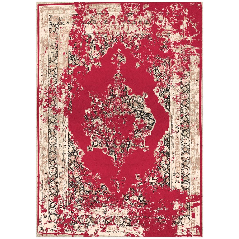 Habibib Rug in Hand Knotted Wool and Botanical Silk For Sale