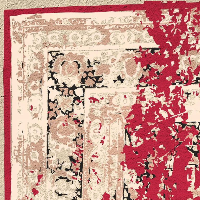 Modern Habibib Rug in Hand Knotted Wool and Botanical Silk For Sale