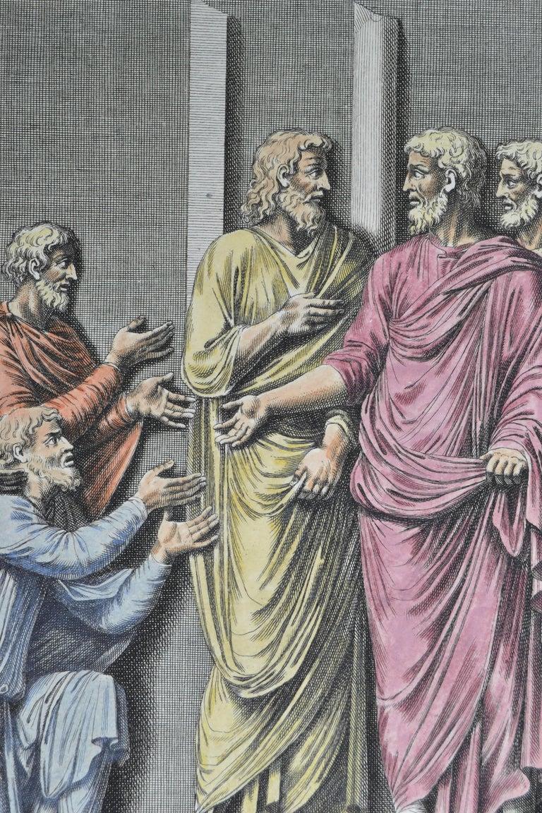 18th century color copperplate engraving of ancient Roman Habits / From L'antiquité expliquée et représentée en figures by Bernard de Montfaucon In a white mat and ready to frame.