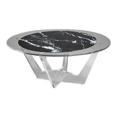 Hac Gray Oval Coffee Table with Carnico Marble-Top by Madea Milano