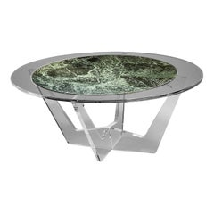 Hac Gray Oval Coffee Table with Green Alps Marble Top by Madea Milano