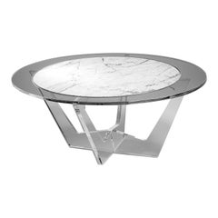 Hac Gray Oval Coffee Table with White Carrara Marble Top by Madea Milano