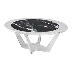 Hac Oval Coffee Table with Gray Carnico Marble Top by Madea Milano