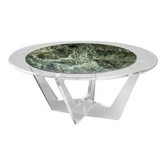 Hac Oval Coffee Table with Green Alps Marble Top by Madea Milano