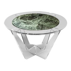 Hac Round Coffee Table with Green Alps Marble Top by Madea Milano