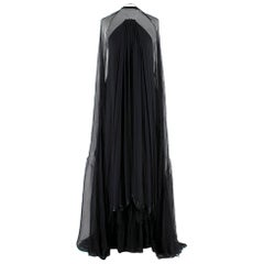 Hachi Black Halterneck Pleated-Chiffon Gown & Stole - Estimated Size M