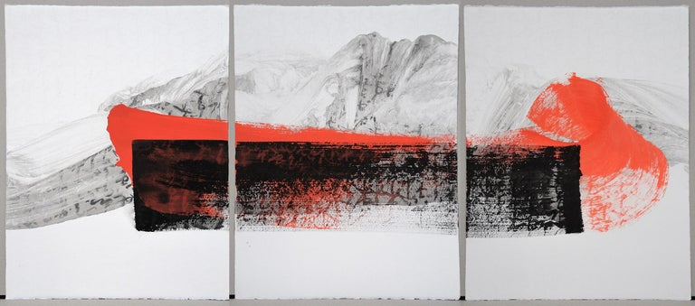 Permanescence N403-T, by Japanese contemporary artist Hachiro Kanno.  Ink and acrylic on paper. This original work is a triptych composed of three paper panels of equal size (65 cm x 50 cm) and is sold unframed. The painter draws its resources from