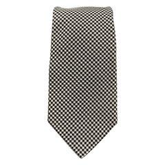 HACKETT LONDON Black & White Houndstooth Silk Tie