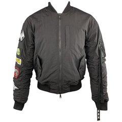 HACULLA S Black Wrinkle Nylon Pray For Revolution Patch Bomber Jacket