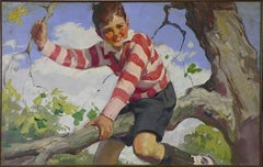 Boy in Striped Sweater Sits on a Tree Branch,Advertisement, Cream of Wheat, 1929