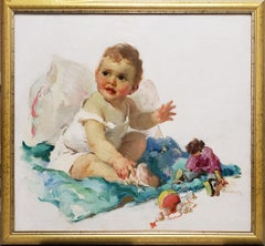 Cute Baby with Rosy Cheeks playing with Toys