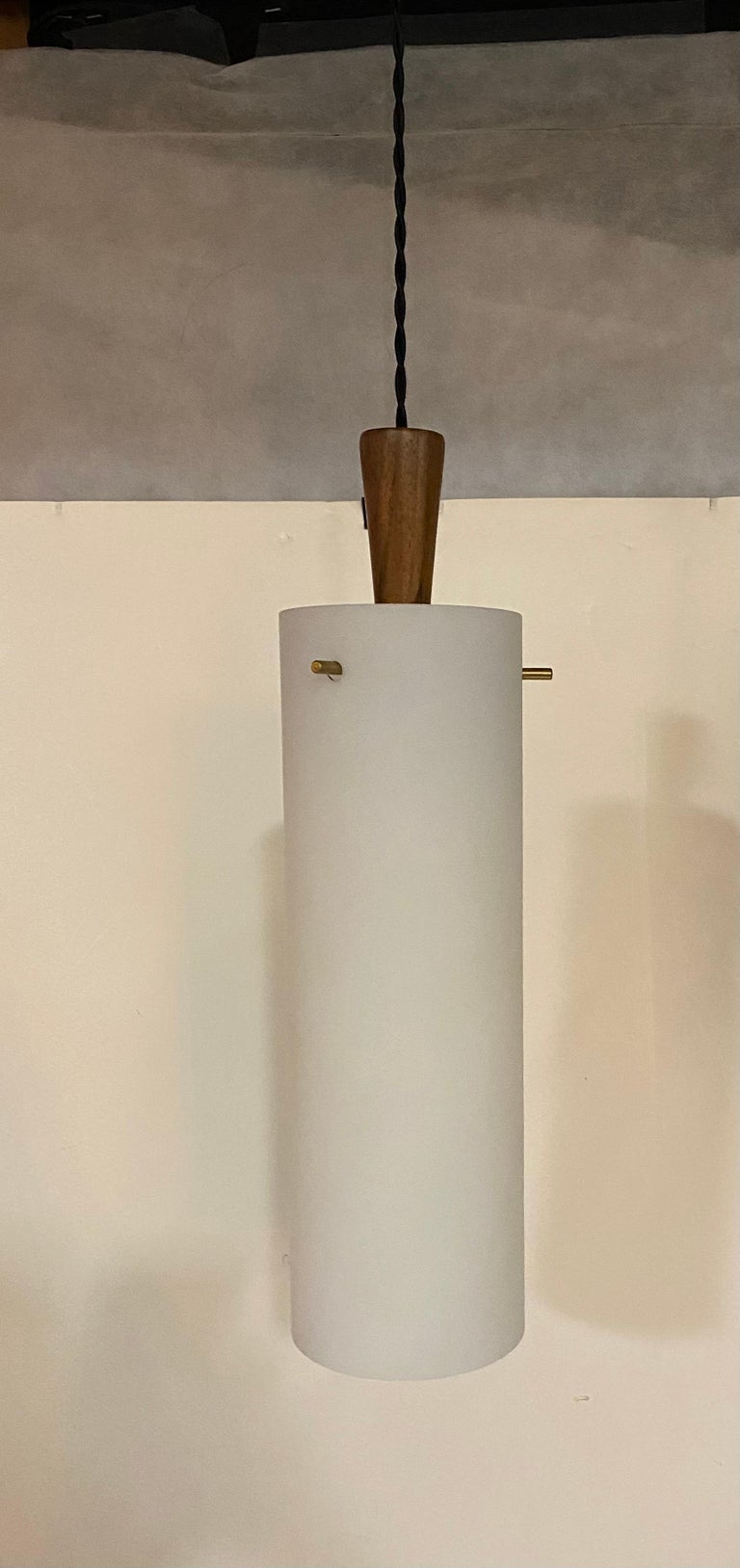 Norwegian Hadeland Frosted Glass, Brass and Wood Pendant Light Fixture For Sale