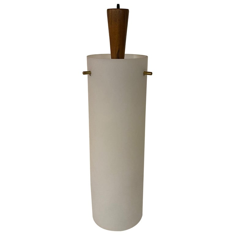 Hadeland Frosted Glass, Brass and Wood Pendant Light Fixture For Sale